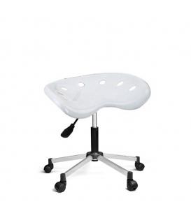 Ofisinhazır Nil Amortisörlü Tabure Krom Ayakli Beyaz