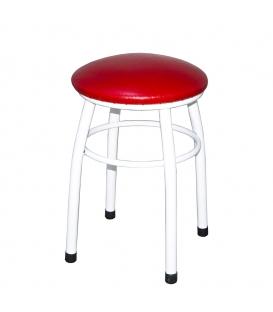 Ofisinhazır Tabure Beyaz Boyalı Ayaklı Kırmızı