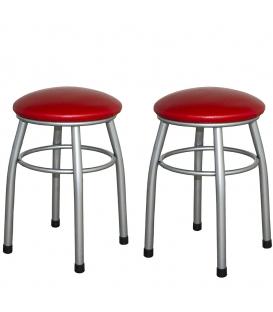 Ofisinhazır Tabure Gri Boyalı Ayaklı Kırmızı 2'Li Set