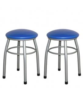 Ofisinhazır Tabure Gri Boyalı Ayaklı Mavi  2'Li Set