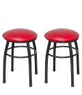 Ofisinhazır Tabure Siyah Boyalı Ayaklı Kırmızı 2'Li Set
